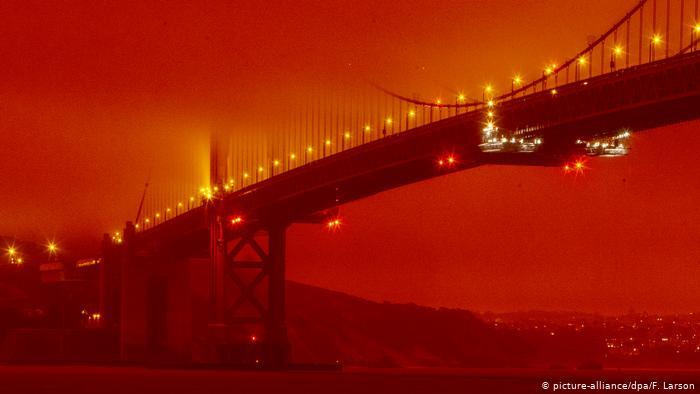 Golden Gate bridge orange glow from forest fires
